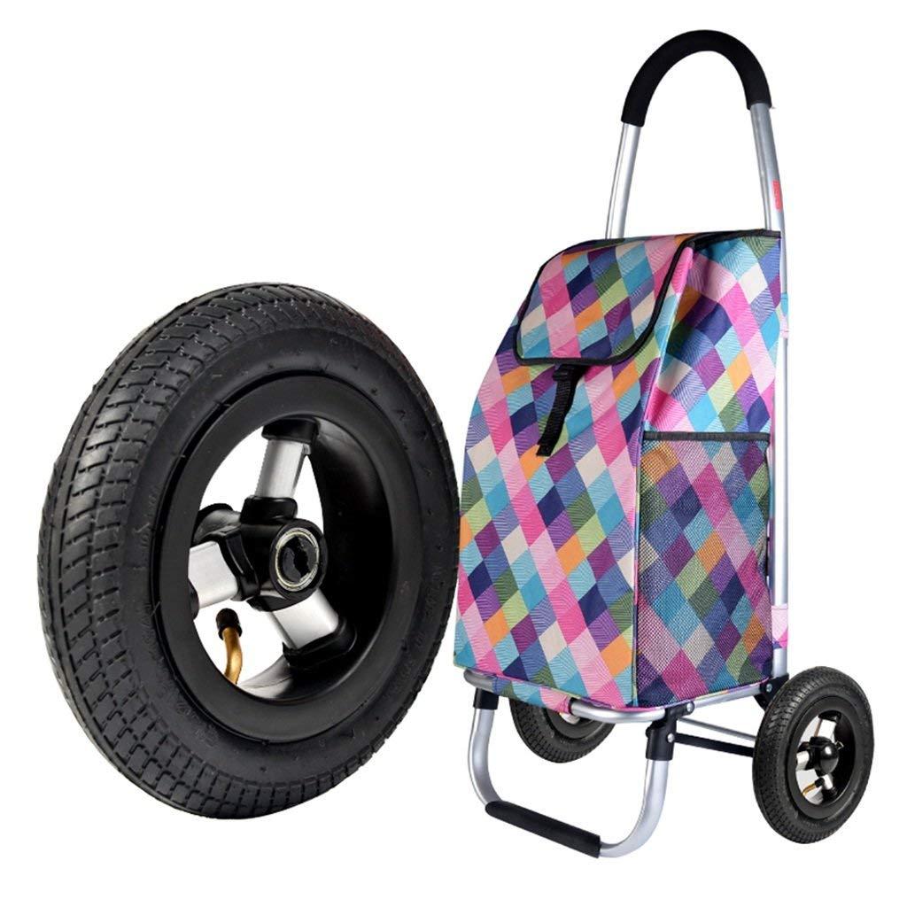 トロリーアルミニウム買物車軽くそして折り畳み式の旅行食料品のカート2ゴム製車輪オックスフォードの布容量55L A + B07SL58KL4