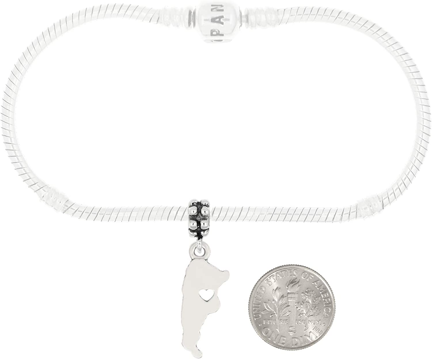 with Options LGU Sterling Silver Plain Outline Argentina Map with Heart Cut Out Buenos Aires Charm