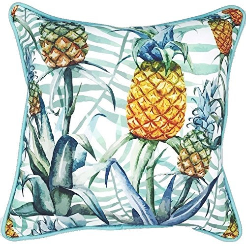 Sea By Day UV / Water Resistant Premium Outdoor Pillows Cushions for Patio Furniture (Peaceful Pineapple) (Out Furniture Outdoor Of Box The)