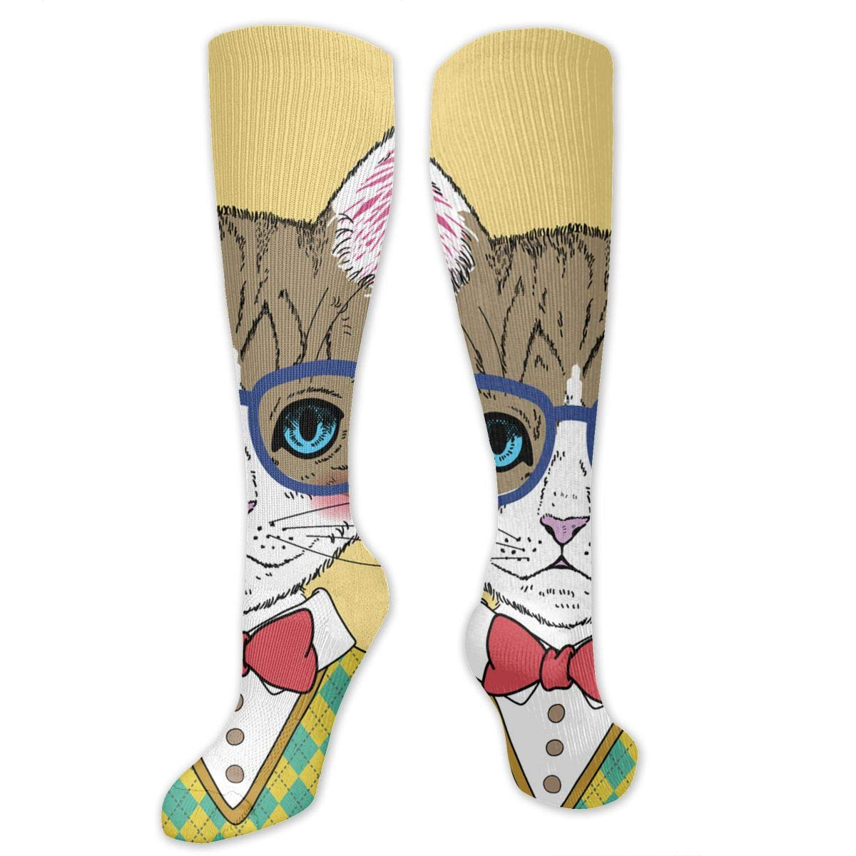 Chanwazibibiliu The Cat in The Plaid Sweater Mens Colorful Dress Socks Funky Men Multicolored Pattern Fashionable Fun Crew Cotton Socks