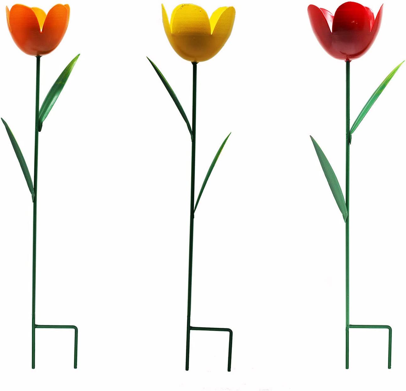 VOTENVO Tulip Floral Garden Stakes Decorations for Indoor/Outdoor Yard,Patio Plant Pot,Lawn, Flower Bed, Birthday Decoration,3 PCS