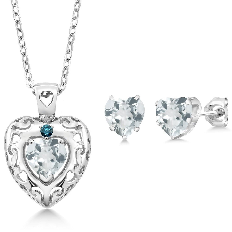 2.03 Ct Sky Blue Aquamarine Blue Diamond 925 Sterling Silver Pendant Earrings Set