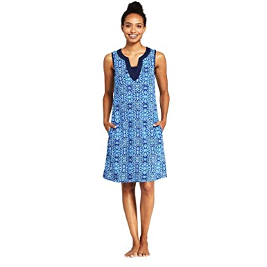 06c1e2e663877 Lands  End Women s Cotton Jersey Sleeveless Tunic Dress Swim Cover-up Print  at Amazon Women s Clothing store