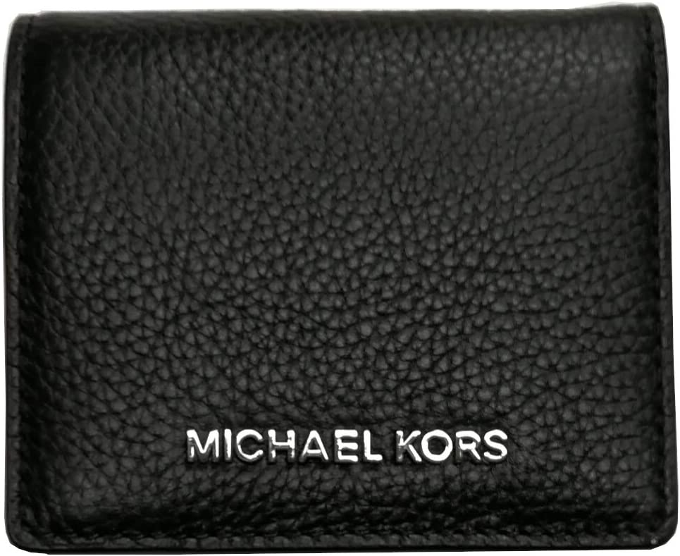 Michael Kors Jet Set Travel Medium Carryall Card Case Bifold Wallet Pebble Leather Silver Hardware Black