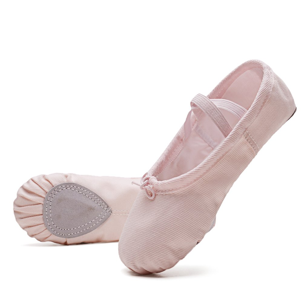 KONHILL Ballet Slippers Shoes Canvas Split-Sole Classic Dance Flat Gymnastics Yoga Shoes(Toddler/Little Kid/Big Kid/Women), Pink, 26