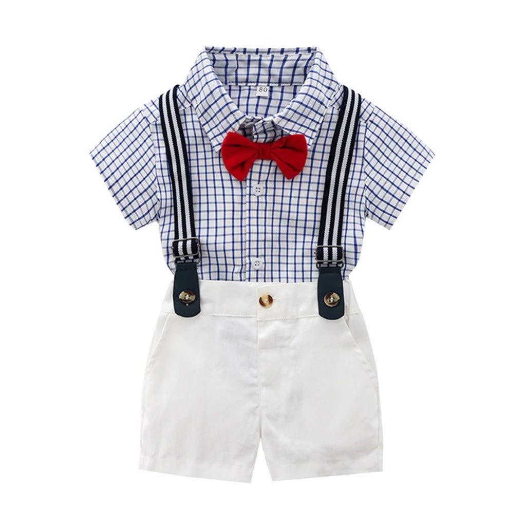 3 Jahre wuayi  Baby Jungs Gentleman Fliege Plaid Kurzarm Hemd T-Shirt Tops Shorts Kurze Hose Overalls Outfits Kleidung 3 Monate