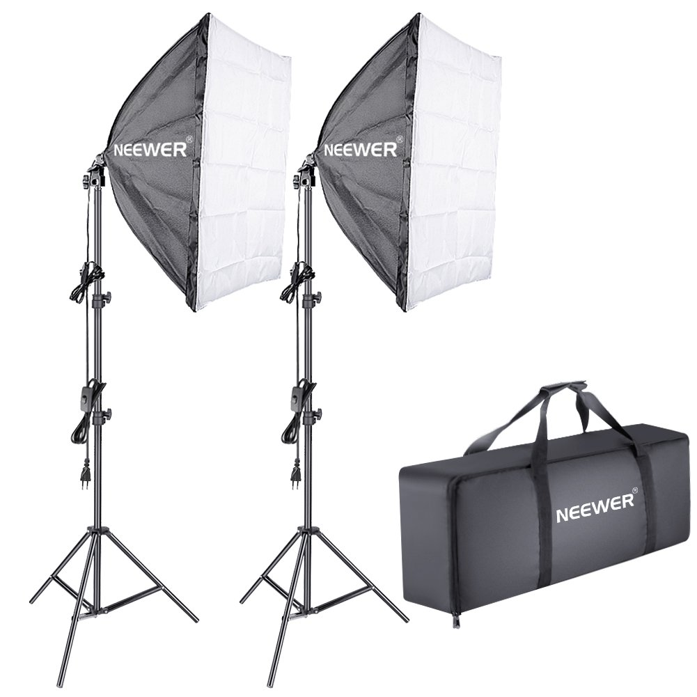 Neewer 700W 5500K Kit de Iluminación Softbox: (2) Difusor de Caja Transparente 24x24