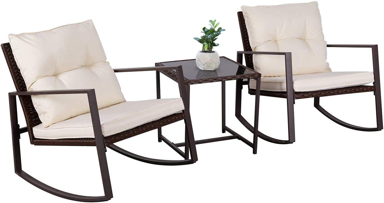 Oakmont Outdoor 3-Piece Patio Furniture Rocking Chair Bistro Set