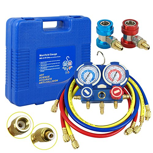 Kit Manifold (F2C HVAC A/C Refrigeration Kit AC Manifold Gauge Set Brass R134A R410a Auto Service Kit w/5ft Colored Hoses, 1/4