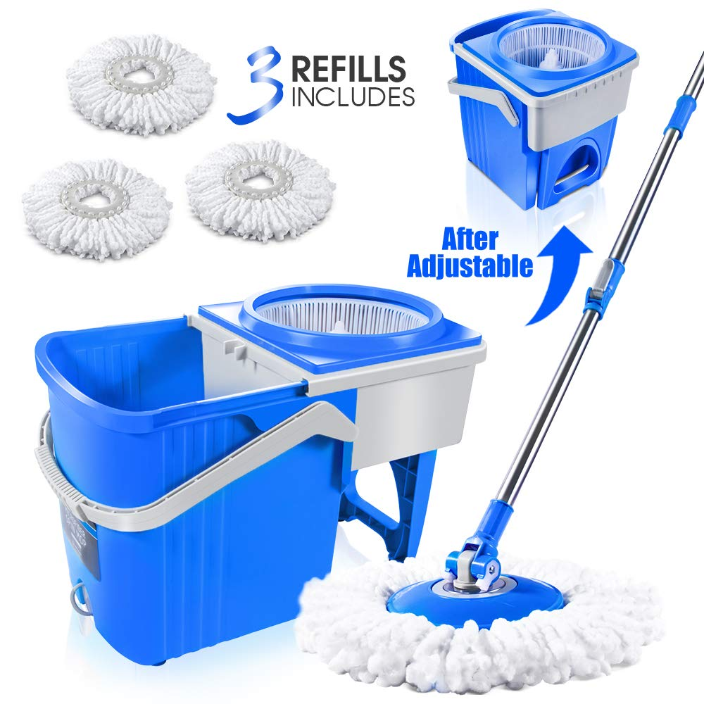 Spin Mop and Telescopic Bucket with 3 Microfiber Mop Heads 7L Mop Bucket with Wringer Self-Wringing Floor Cleaning Mop Masthome by Masthome