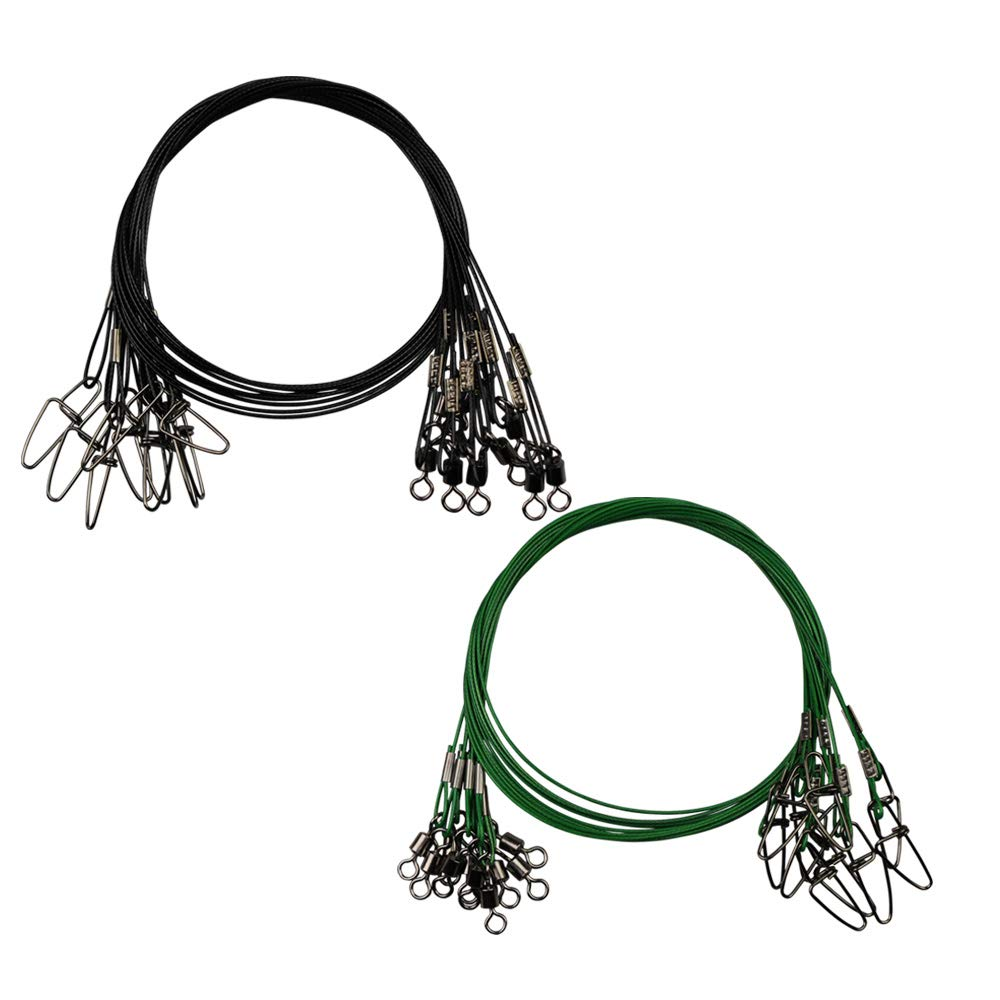 20pcs Fishing Wire Leaders Heavy Duty Fishing Stainless Steel Wire Leaders 150LB High Strength Fishing Leaders with Swivels and Snaps Black//Red//Green