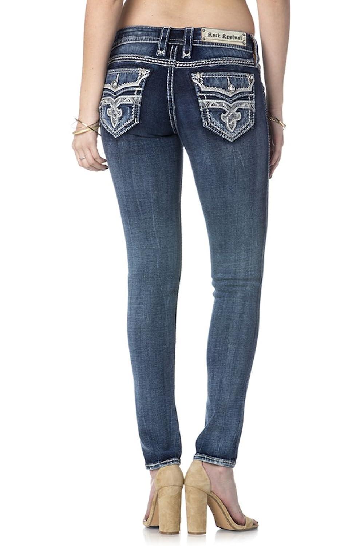 Rock Revival Jeans Women's Corin J202 Medium Wash Straight Leg Fluer De Lis