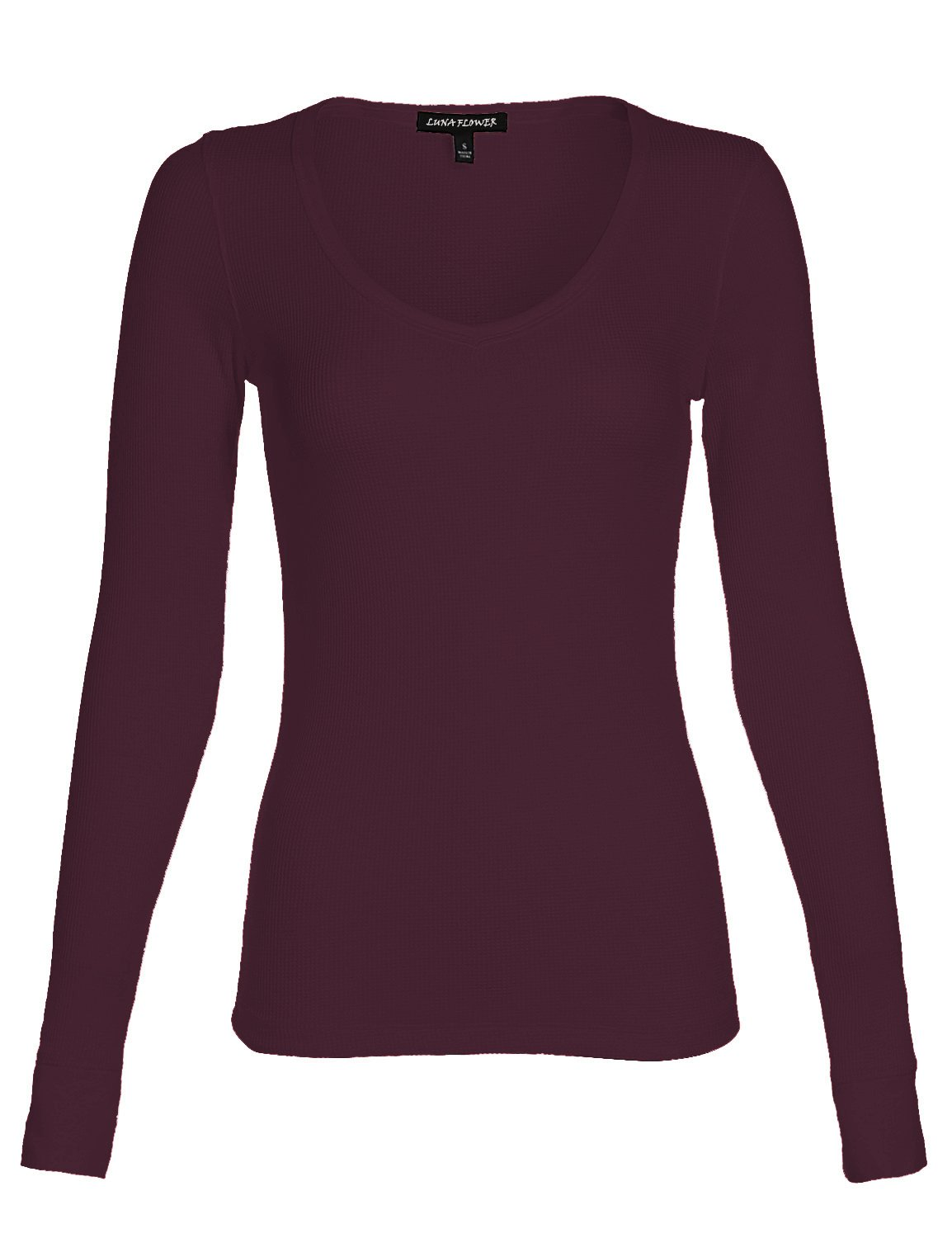 Luna Flower Women's Long Sleeve Sexy Basic Thermal V-Neck Top Plum Large (GTEW250)