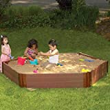 MD Group Sandbox Kit Hexagon 2 Level 1-in Thick Composite Wood Eco-friendly Outdoor Kids Play