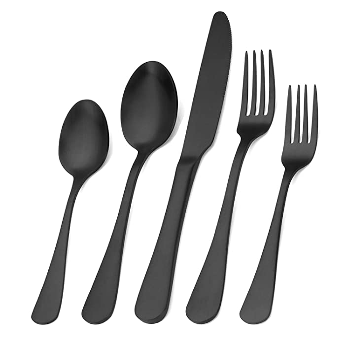 Matte Black Silverware Set,SHARECOOK Satin Finish 40-Piece Stainless Steel Flatware Set,Kitchen Utensil Set Service for 8,Tableware Cutlery Set for Home and Restaurant, Dishwasher Safe