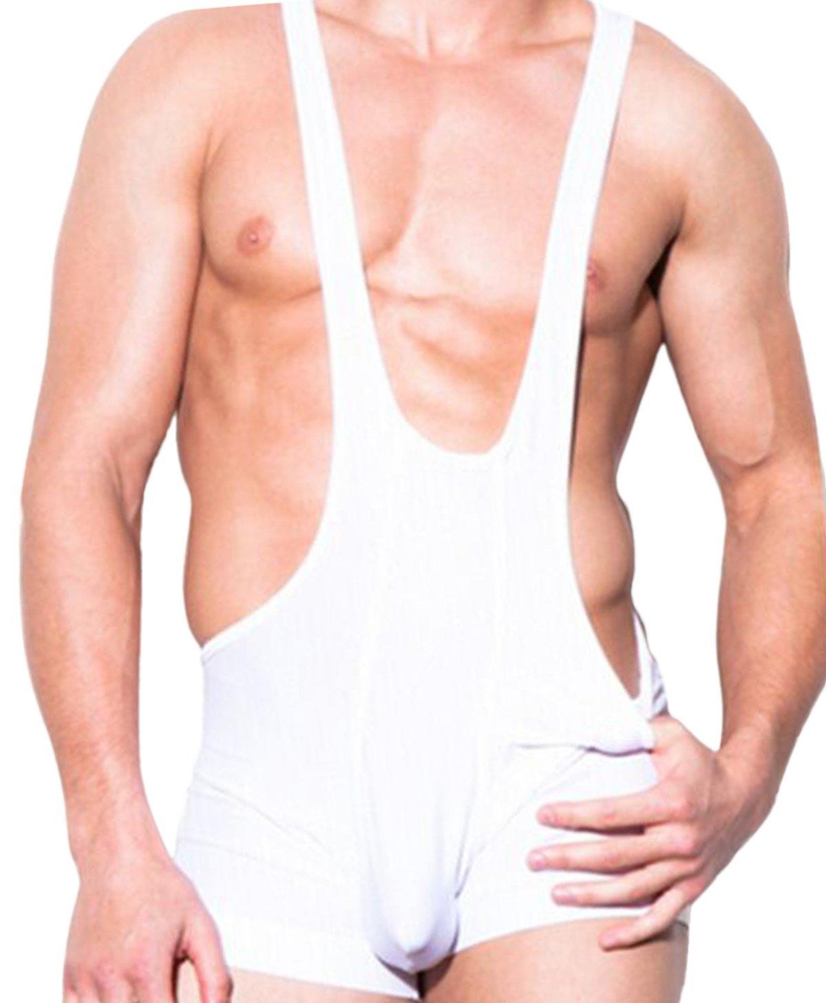 Fangran Mens Smooth Sports Jockstrap Jumpsuit Underwear Mankini Wrestling Boxers Bodywear White - L
