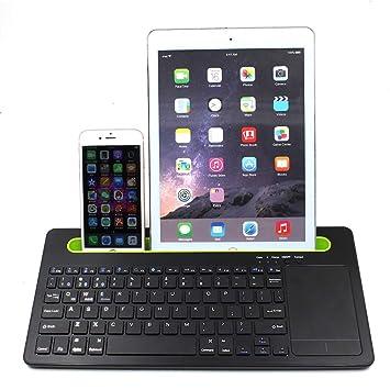 ZLC Teclado Bluetooth, Mini Touchpad inalámbrico Bluetooth Teclado táctil ratón Ranura Tres función de emparejamiento para el Ordenador ...