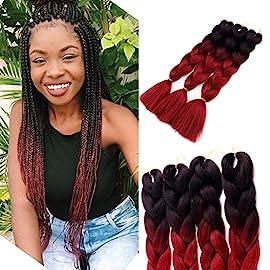 3pcs/lot Ombre Braiding Hair 100g Kanekalon Jumbo Braids Hair 24″ Jumbo Synthetic Hair(Black and Brown)