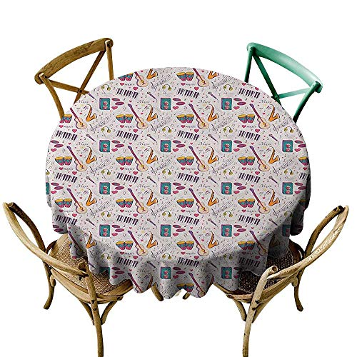 (Wendell Joshua Yellow Tablecloth 54 inch Music,Instruments Drums Speakers Keyboard Headphones Records Blues Music is My Life Theme, Multicolor Suitable for Indoor Outdoor Round Tables)