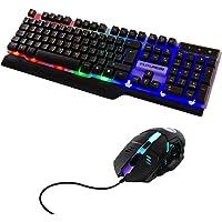 TRIXTER Teclado Mecánico Gaming Con Mouse Óptico, RGB Teclado Gamer Con Luces LED Retroiluminación, Conexión USB Plug…