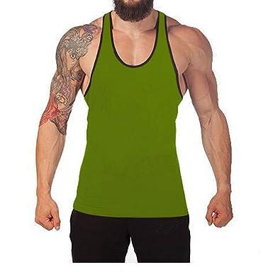 af1e3bfa1d932 Q Y Men s Cotton Blank Stringer Y Back Cotton Workout Stringer Gym Tank Tops  Heather ...