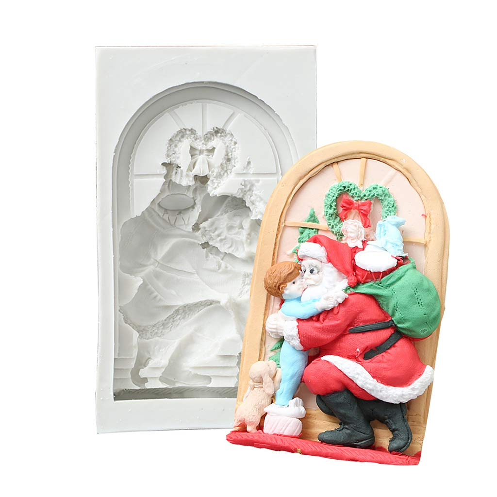 Redriver 3D Silicone Cake Mold, Christmas Santa Claus Fondant Shape Cake Candy Pudding Chocolate DIY Decoration Baking Tools(1 Pc)