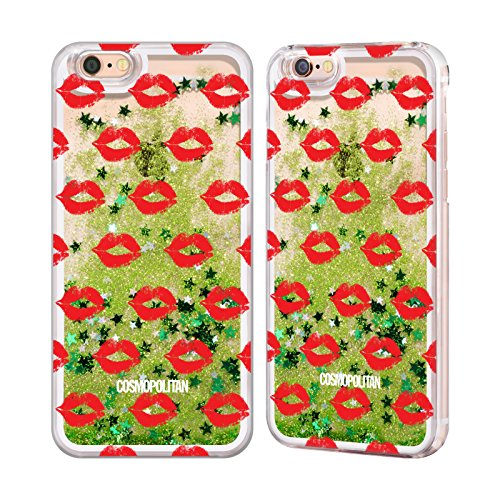 Official Cosmopolitan Red Kiss Mark Green Liquid Glitter Case Cover for Apple iPhone 6 / 6s