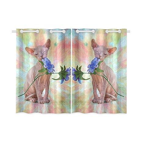 Happy more Custom disegno di gatto Sphynx Hairless finestra tenda ...