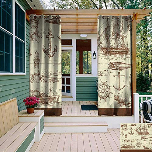 leinuoyi Marine Navy Captains, Outdoor Curtain Extra Wide, Oceanic Theme Retro Style Drawing Effect Framed Nautical Collection, for Patio Furniture W120 x L96 Inch Brown Cream