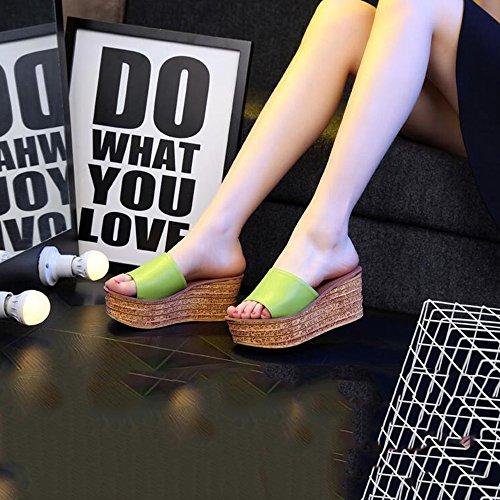 uk4 colore Di 7 Verde Le Dimensioni Eu37 Sei Donna cn37 A Femminili Donne I Da Estate Spessi Adattano Facoltativi 4 Haizhen Pistoni Scarpe Per Colore Rosso 5 Pattini 5cm Sandali Pantofole zqYwFBB