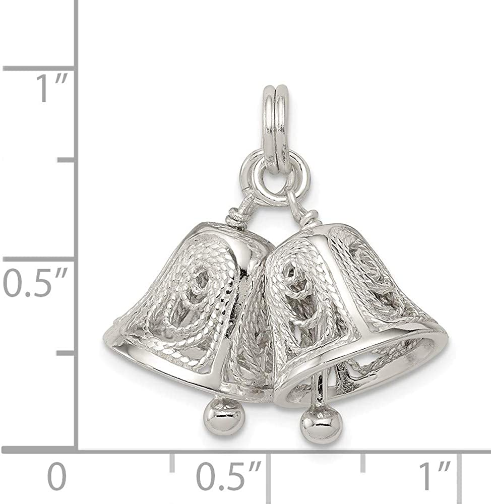 Sterling Silver Polished d Crane in Oval Frame Charm Pendant