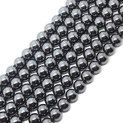 jennysun2010 5mm Natural Non-Magnetic Hematite Gemstone Round Ball Beads  16'' Inches Metallic Black 1 Strand for Bracelet Necklace Earrings Jewelry