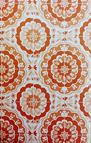 """Bursting Blooms of Color Vinyl Flannel Back Tablecloth - Various Sizes and Colors (52"""" x 90"""" Oblong, Shades of Orange)"""