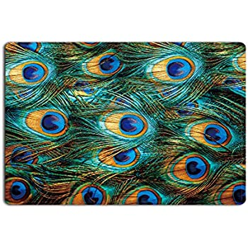 Crystal Emotion 3D Entrance Doormat Peacock Feather Printed Rubber Rug  Carpet For Kitchen Bedroom Front Door