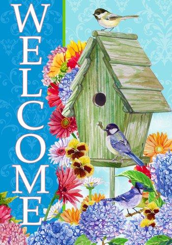 Pansy Hydrangea Welcome Birdhouse House Flag 28 x (Welcome Hydrangea)
