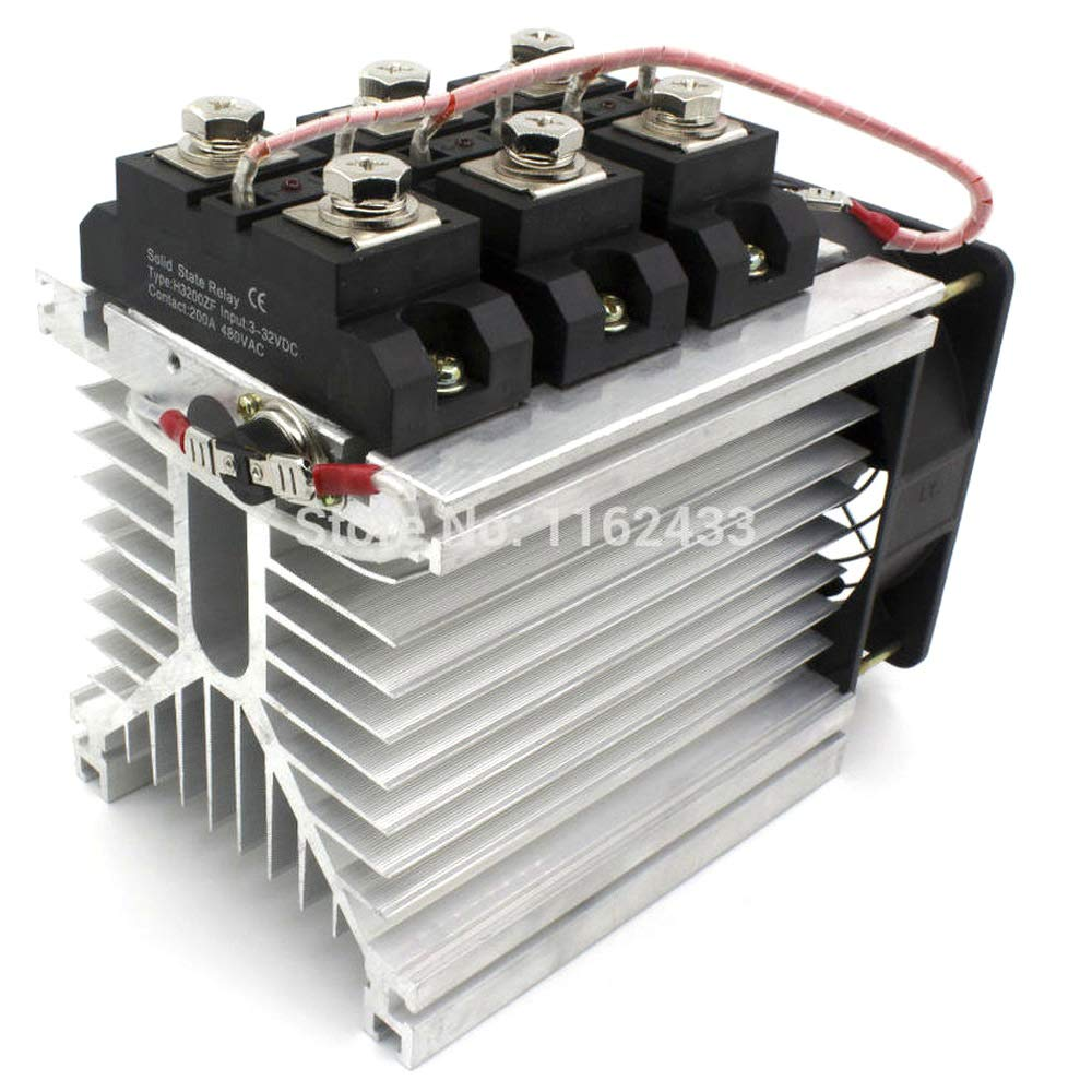H3200ZF-3 Three Phase DC to AC 200A 24-480Vac Industrial Grade Solid State Relay Set/SSR Set by GalaxyElec
