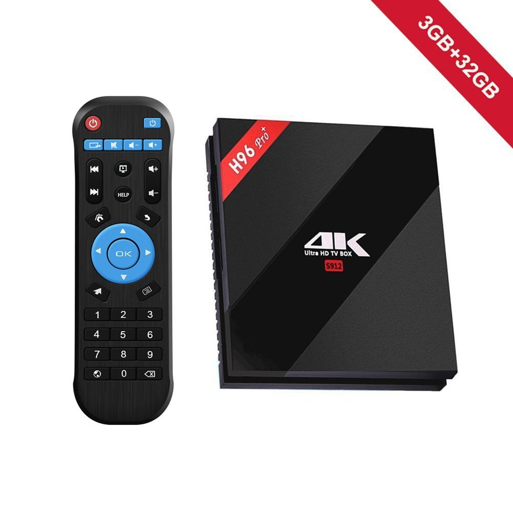 WeChip H96 Pro plus Android 7.1 TV Box 3GB RAM 32GB ROM,Amlogic 912 64 Bits Octo-core Smart TV Box Support Real 4K Dual Band WiFi 2.4GHz/5GHz Bluetooth 4.1 with Remote Control by Wechip