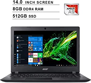 2020 Newest Acer Premium Aspire 3 14 Inch Laptop (AMD A9-9420e 1.8GHz up to 2.7GHz, 8GB DDR4 RAM, 512GB SSD, AMD Radeon R5, WiFi, Bluetooth, HDMI, Webcam, Windows 10 Home) (Black)