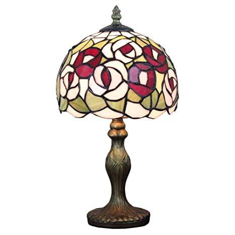 Lámparas de mesa Tiffany, (8 pulgadas) Red Rose Flower Stained ...
