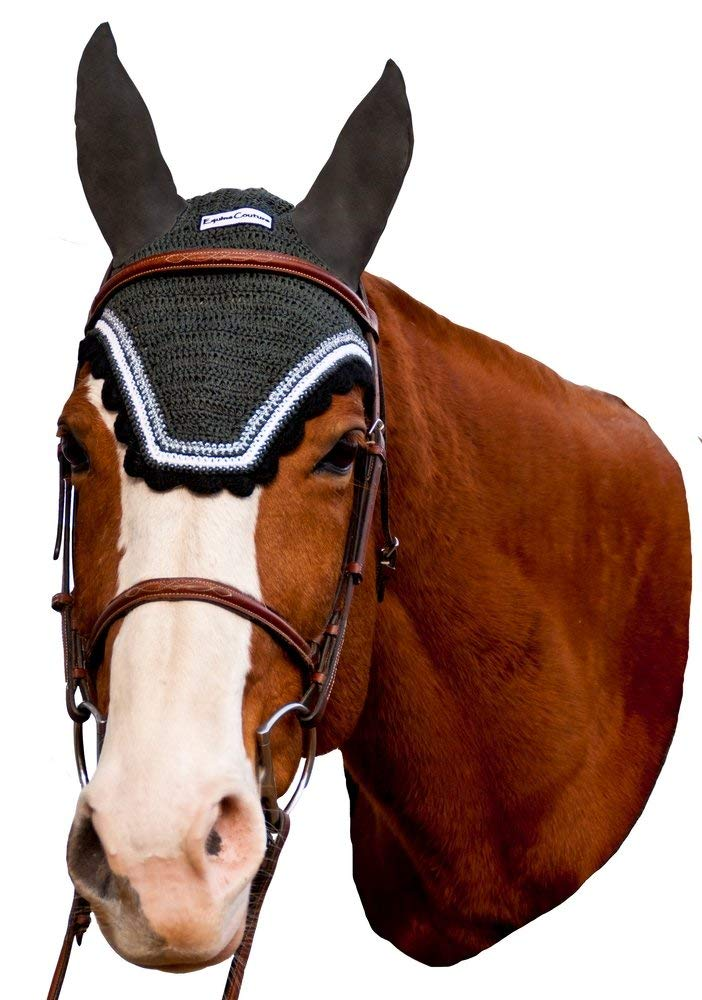 Equine Couture Fly Bonnet with Silver Lurex Contrast color Pony Sizes Available color DarkCharcoal Black, Size Full