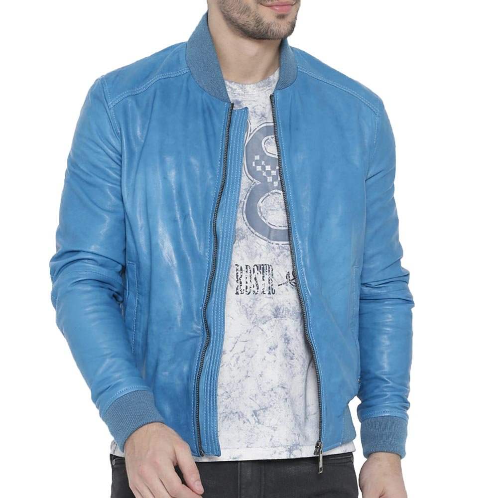 Buy Bareskin Light Blue Colour Genuine Leather Bomber Jacket for Men at  Amazon.in