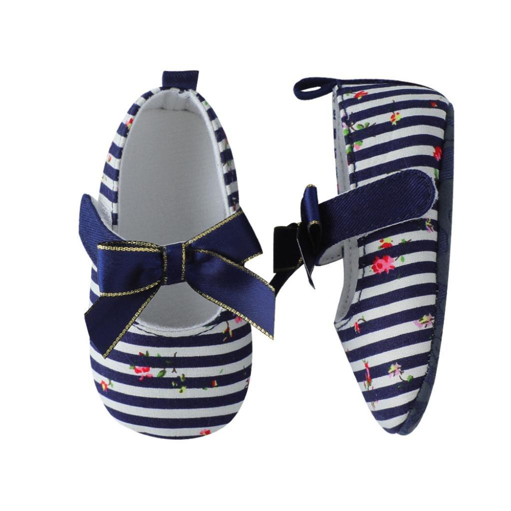 Lanhui Infant Baby Sandals Girls Bow Stripe Sneaker Anti-Slip Soft Single Shoes