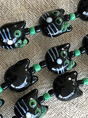 Halloween Black Cat Lampwork Glass Bead (Pack of (Halloween Lampwork Glass Beads)