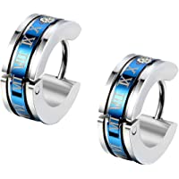 Flongo Men's Classic Biker Stainless Steel Engraved Roman Numerals Classic Polished Hoop Hinged Earrings