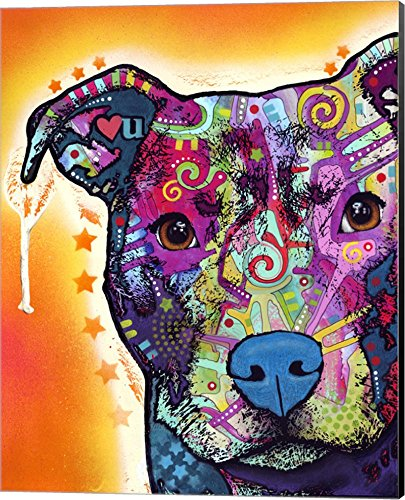 (Heart U Pit Bull by Dean Russo Canvas Art Wall Picture, Museum Wrapped with Black Sides, 16 x 20 inches)