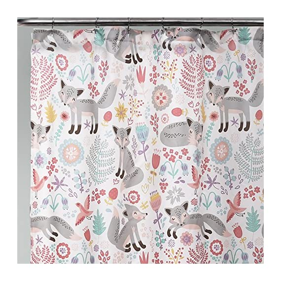 """Lush Decor Pixie Fox 72"""" x 72"""" Shower Curtain, Gray & Pink - Lush Décor Pixie Fox shower curtain is the perfect piece for your bathroom. The design is also available in curtains, sherpa throw and bedding Beautiful, playful print pattern of foxes against a white background - ideal for kids, adolescent or guest bathroom. Soft, 100% polyester fabric shower curtain with a fun and unique design to enhance your space. - shower-curtains, bathroom-linens, bathroom - 61WNnVKtMPL. SS570  -"""