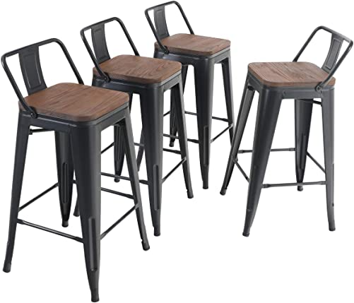 ALPHA HOME 26 Inches Low Back Bar Stools