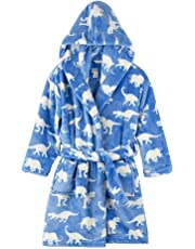 Children's Pajamas Kids Hooded Bath Robe - Fleece Novelty Towel Dressing Night Gown with All Over Printed Patterns, Long Sleeves & Pockets