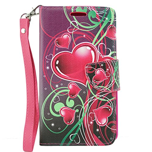 ZTE Warp Elite Case, Customerfirst Magnetic Folio Flip Book Wallet Pouch Case With Fold Up Kickstand and Detachable Wrist Strap For ZTE Warp Elite (Boost Mobile) (Cupid Hearts) Photo #6