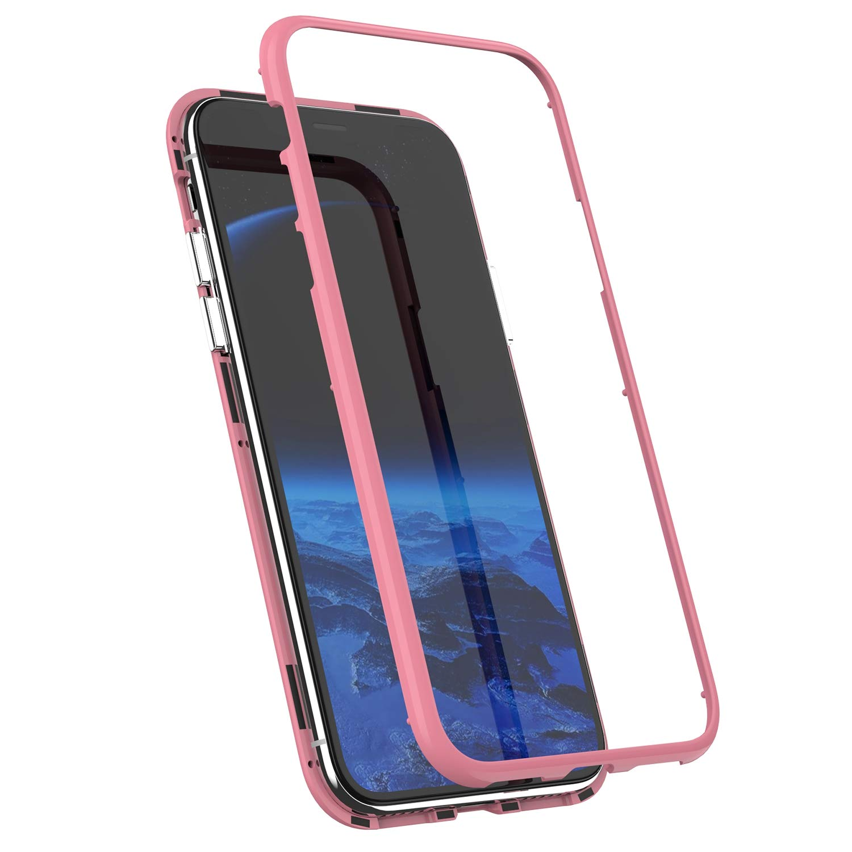 MoreChioce kompatibel mit iPhone XR H/ülle,kompatibel mit iPhone XR Handyh/ülle Magnetische Adsorption,360 Grad Full Body Protection Glitzer Chrom Spiegel Schuth/ülle Silikon Bumper,Wei/ß Glas,EINWEG